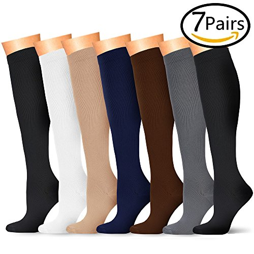 1fac9ad646 Compression Socks 7 Pairs, 15-20 mmhg is BEST Graduated Athletic & Medical  for Men & Women, Running, Flight, Travel, Nurses, Pregnant - Boost  Performance, ...