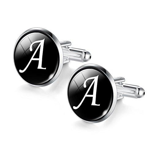 ORAZIO Engraved Tie Clip and Initial Cufflinks for Men Women Alphabet Letter A-W Cufflinks Tie Bar Set for Business Wedding Gold Tone